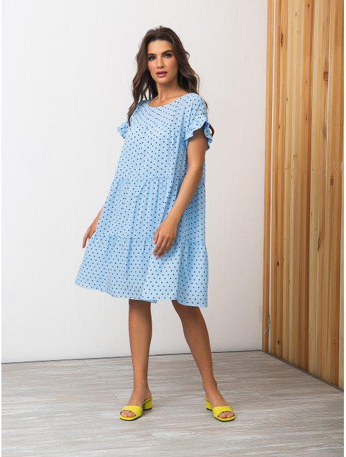 Платье (294/голубой,горох)